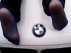Ebony Stockings on Car