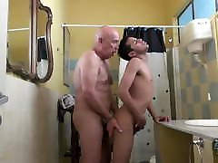 Twink coming out of shower fucked bareback by daddy