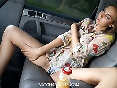 Big Tits Brunete Getting Off In A Car