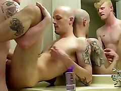 Horny Tatted Couple Fuck In Bathroom no cum