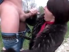 Mature in fur coat blowjob and handjob outdoor