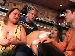 Chubby party girl gets slow motion sex masaj in the bbw bar