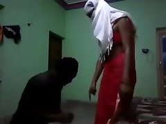Indian mistress in saree dominating slave