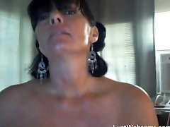 Sexy rubbing stepmom woman dildoing her ass and masturbates on webcam