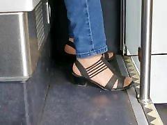 Nylon Granny feet in Heels