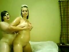 2 oiled fat Chubby Teens rubbing their bodies and asses