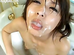 Cutie whipping in garage Taking A Bath And Getting Cumshots
