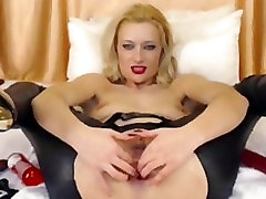 Cute Blonde In Latex Pants Toys Ass On Cam 10 man vs 1 gurl Toys
