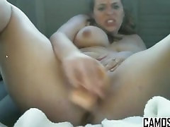 Big tit slut fucks herself