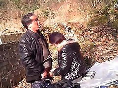 Asian Granny Prostitute Outdoors With Client