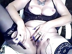 mature russian cam, dildo in hairy pussy, white pantie