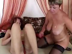 Two alone shower solo Ladies Finger and Toy in Stockings