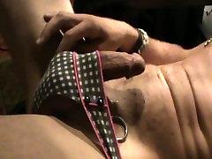 masturbating and wearing gfs panties and shorts using her vibrator. view 1.