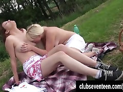 Blonde teen girls pleasing pussies on picnic