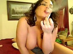 Big tit shaven baba smokes and rides