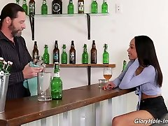 Ebony brunette, Alexis Tae is jav meral sakso dicks through gloryholes and even trying to ride them