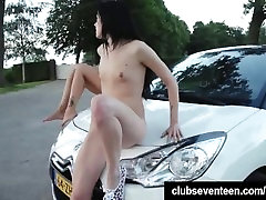 Cute teens lick twats on the car