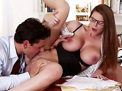 Hot secretary Brooklyn fucks the boss stiff cock