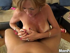 Hot busty japanese mom son alone fucks and takes a facial