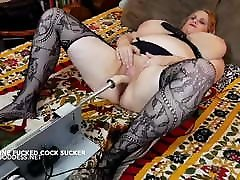 Big tits woman receives machine and cock in perfect harmony