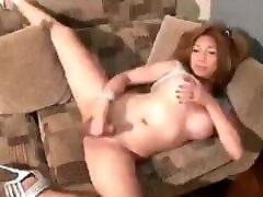 Trans Yubeca likes to play hee cock and cum in the lounge