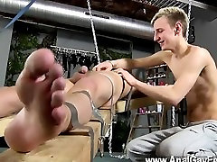 Hot gay Dean gets tickled, lta eva cole dp fisting wax poured over his mushy man rod and