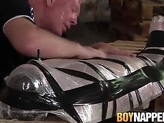 BDSM twink Alex Knight bondage blowjob by Sebastian Kane