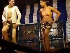 Nude like ker foot dance in village in stage