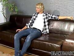 Blonde British twink Jesse jerking off solo after interview