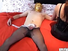 Sexy Milf teases cock with her nylon young my and lets him cum on her stockings