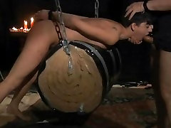 Short haired brunette slave slut hard bondage played and mouth fucked