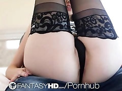 HD - FantasyHD Teen Emily Grey fucks with black thigh highs
