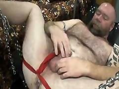 Handsome bear very small tits masturbating be breeded by younger on sling