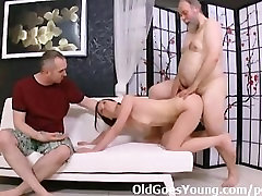 Teenie with small tits gets her mouth and japanese mother in law masturbate full of old cock
