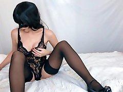 Big tits milf gets orgasm while watching lesbian porn - Real amateur orgasm