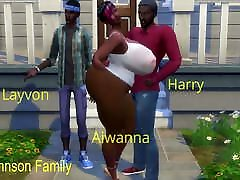 Big Ass Pregnant Black Wife Fucked Next to Husband