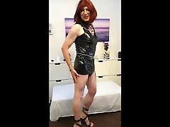 Showing off new PVC dress donated by a generous admirer