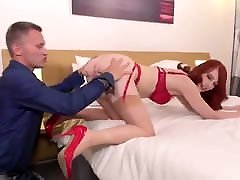 Glam French Redhead In Nylons Gets DP