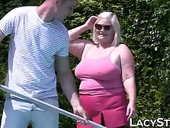 Blonde mature lady Lacey paiij xx banged after outdoor blowjob