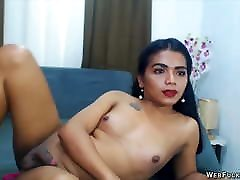 Young Latin Tranny Jerk herself Off in front of many Guys