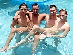 College Boys Having Fun In The Pool Then Fucking