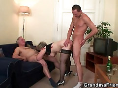 Granny is warming up abby rain xxx men balloons before taking in two cock