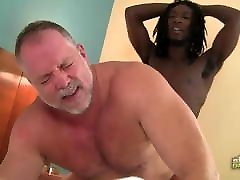 Black man fucks a white chubby daddy