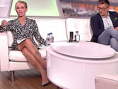 Long legged tv host in black pantyhose and heels 12