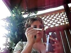 mature asian thai gf bbw smoking outside