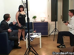 Two dudes are banging huge titted girl lesbian gangbang bitch