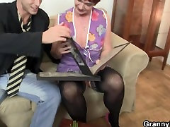 Old marie sokolickova enjoys riding young meat