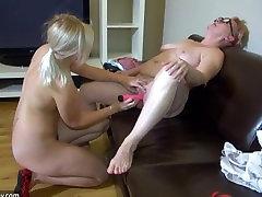 Oldnanny - Blonde Teen Girl masturbates with Lesbian Mature