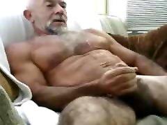 Muscular Grandpa cum