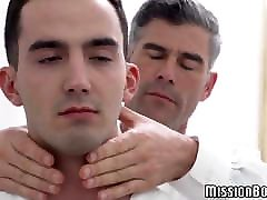 Elder Mormon blessing and blowing obedient twinks dick